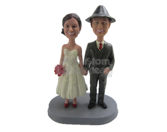 Custom Bobblehead Classic Wedding Couple In Wedding Attire - Wedding & Couples Bride & Groom Personalized Bobblehead & Cake Topper