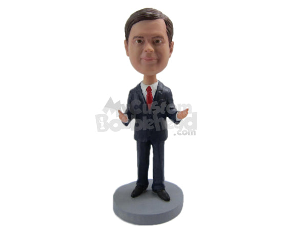 Custom Bobblehead Best Man In Formal Outfit Ready For The Wedding Ceremony - Wedding & Couples Groomsman & Best Men Personalized Bobblehead & Cake Topper