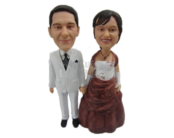 Custom Bobblehead Couple In Classy Formal Wedding Attire Holding Hands - Wedding & Couples Couple Personalized Bobblehead & Cake Topper