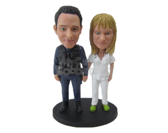 Custom Bobblehead Military And Nurse Couple Showing Off Their Abilities - Wedding & Couples Couple Personalized Bobblehead & Cake Topper