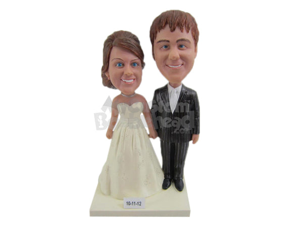 Custom Bobblehead Couple Wearing Wedding Attire Ready For Their Wedding Ceremony - Wedding & Couples Bride & Groom Personalized Bobblehead & Cake Topper