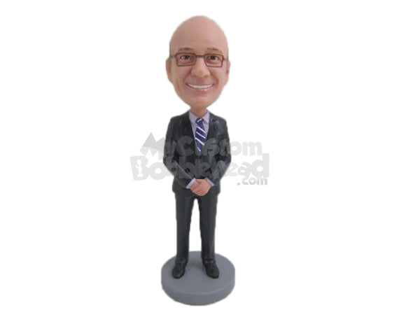 Custom Bobblehead Father Of The Bride Wearing Formal Outfit - Wedding & Couples Father Of The Bride Personalized Bobblehead & Cake Topper