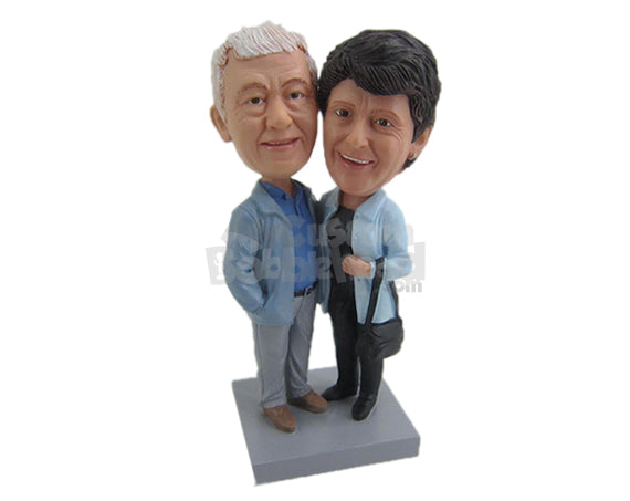 Custom Bobblehead Cute Elder Couple Posing For Picture On Their Vacation Trip - Wedding & Couples Couple Personalized Bobblehead & Cake Topper