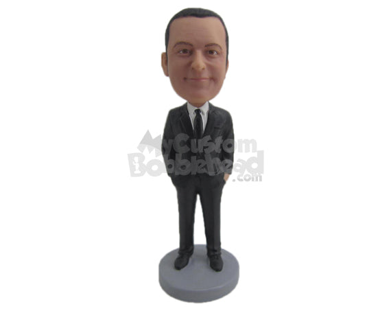 Custom Bobblehead Best Man Wearing Trendy Formal Outfit - Wedding & Couples Groomsman & Best Men Personalized Bobblehead & Cake Topper