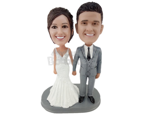 Custom Bobblehead Gorgeous Wedding Couple Walking Down The Aisle - Wedding & Couples Bride & Groom Personalized Bobblehead & Cake Topper