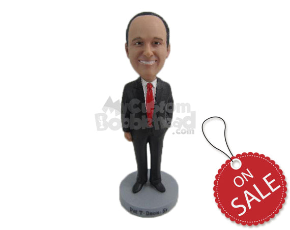 Custom Bobblehead Father Of The Bride In Formal Attire With One Hand In Pocket - Wedding & Couples Father Of The Bride Personalized Bobblehead & Cake Topper