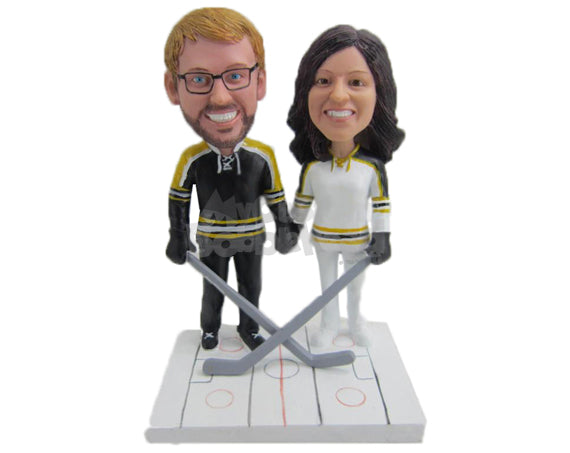 Custom Bobblehead Ice Hockey Loving Couple Ready For Action - Wedding & Couples Couple Personalized Bobblehead & Cake Topper