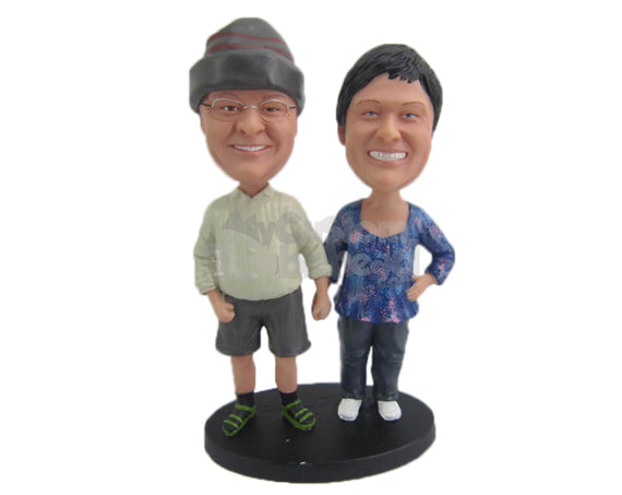 Custom Bobblehead Cute Couple Holding Each Others Hand Wearing Casual Outfit - Wedding & Couples Couple Personalized Bobblehead & Cake Topper