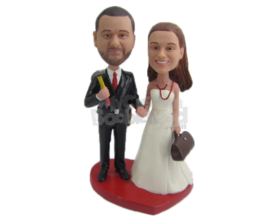 Custom Bobblehead Handy Man And Beautiful Bride Heading To The Altar - Wedding & Couples Bride & Groom Personalized Bobblehead & Cake Topper