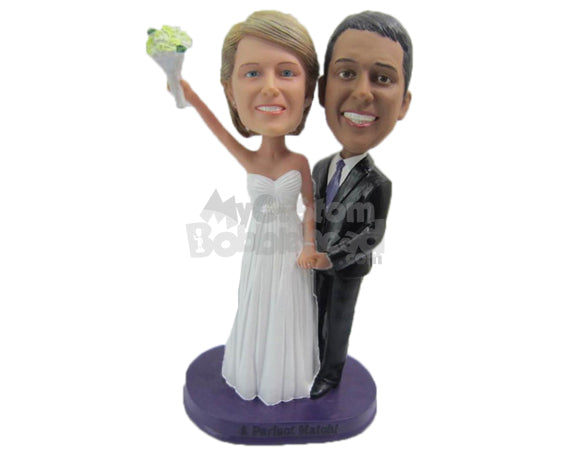 Custom Bobblehead Classy Wedding Couple In Gorgeous Attire With A Bouquet - Wedding & Couples Bride & Groom Personalized Bobblehead & Cake Topper