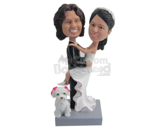 Custom Bobblehead Groom Carrying Lovely Bride With Cute Little Puppy - Wedding & Couples Bride & Groom Personalized Bobblehead & Cake Topper