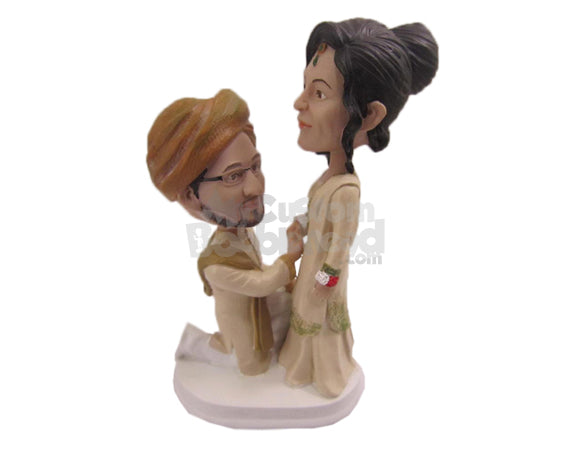 Custom Bobblehead Indian Groom Proposing Beautiful Bride In Traditional Indian Wedding Attire - Wedding & Couples Bride & Groom Personalized Bobblehead & Cake Topper