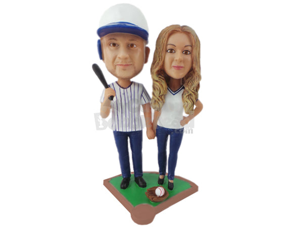 Custom Bobblehead Lovely Baseball Loving Couple In The Baseball Field Ready To Tie The Knot - Wedding & Couples Couple Personalized Bobblehead & Cake Topper