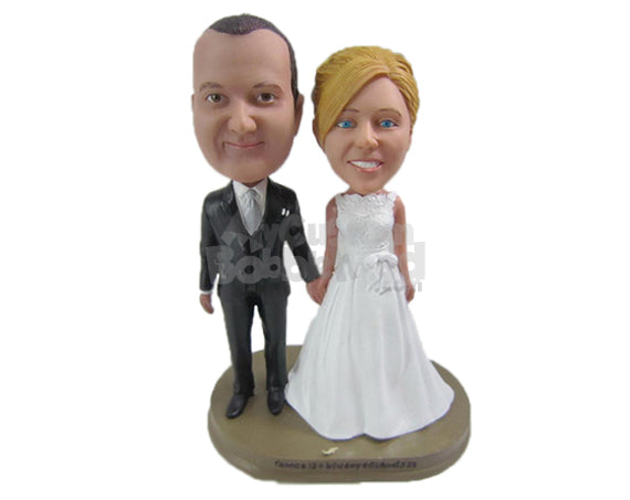 Custom Bobblehead Bride And Groom Wearing Gorgeous Wedding Attire - Wedding & Couples Bride & Groom Personalized Bobblehead & Cake Topper