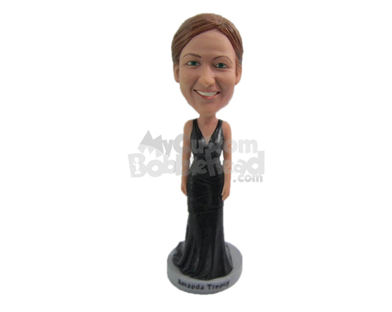 Custom Bobblehead Gorgeous Bridesmaid Wearing Eye Catching Gown - Wedding & Couples Bridesmaids Personalized Bobblehead & Cake Topper