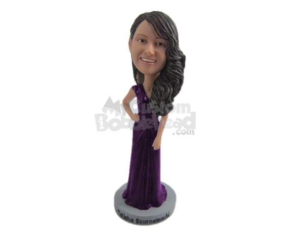Custom Bobblehead Beautiful Bridesmaid In Gorgeous Gown - Wedding & Couples Bridesmaids Personalized Bobblehead & Cake Topper