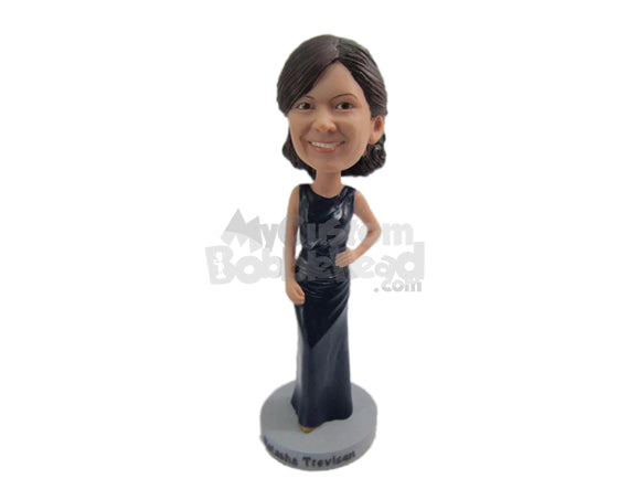 Custom Bobblehead Bridesmaid Ready For The Ceremony Wearing A Fancy Expensive Sleeveless Gown - Wedding & Couples Bridesmaids Personalized Bobblehead & Cake Topper