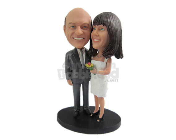 Custom Bobblehead Father And Mother Of The Bride Posing For The Photo Shoot - Wedding & Couples Brides Personalized Bobblehead & Cake Topper