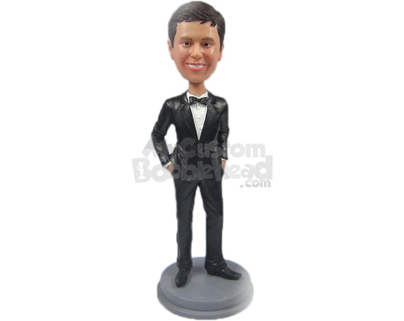 Custom Bobblehead Groomsman In Formal Outfit With Both Hands In Pocket - Wedding & Couples Groomsman & Best Men Personalized Bobblehead & Cake Topper