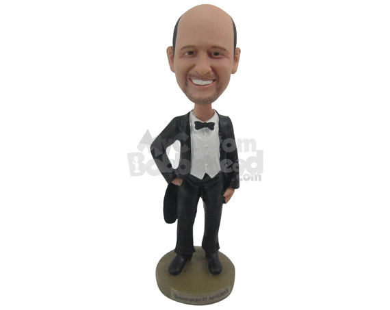 Custom Bobblehead Groom In Vintage Tuxedo Ready For The Wedding - Wedding & Couples Bride & Groom Personalized Bobblehead & Cake Topper