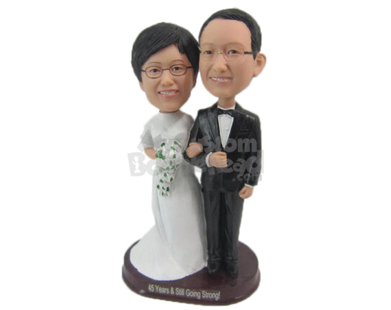 Custom Bobblehead Chinese Wedding Couple In Traditional Wedding Attire - Wedding & Couples Bride & Groom Personalized Bobblehead & Cake Topper