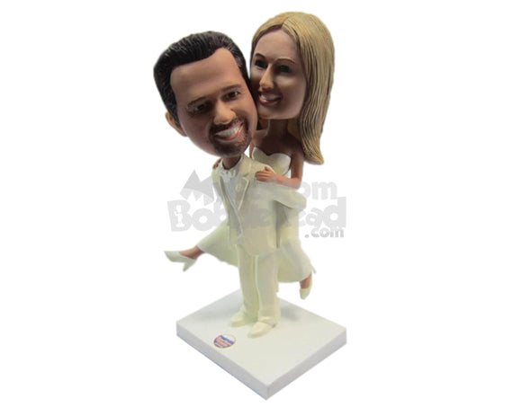 Custom Bobblehead Groom Carrying Bride Heading To The Altar - Wedding & Couples Bride & Groom Personalized Bobblehead & Cake Topper
