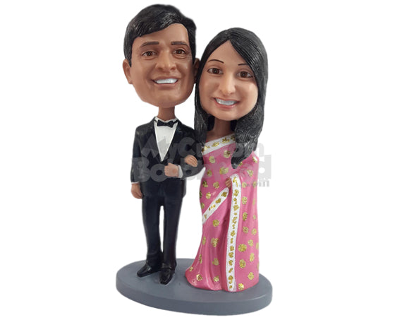 Custom Bobblehead Indian Bride And Groom Wearing A Beautiful Traditional Attire - Wedding & Couples Bride & Groom Personalized Bobblehead & Cake Topper