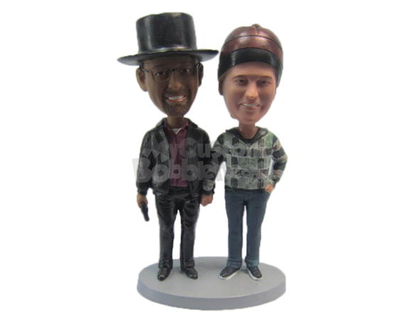 Custom Bobblehead Gentleman Holding A Gun Standing Next To Female Partner - Wedding & Couples Couple Personalized Bobblehead & Cake Topper