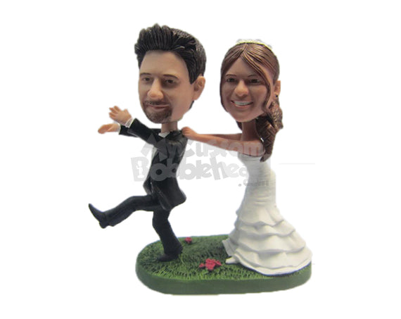 Custom Bobblehead Bride Dragging Fleeing Groom Back To The Altar - Wedding & Couples Bride & Groom Personalized Bobblehead & Cake Topper