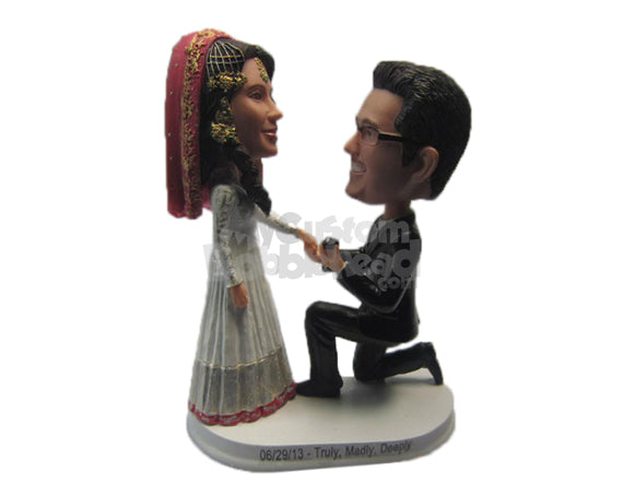 Custom Bobblehead Classical Indian Wedding Proposal In Traditional Wedding Attire - Wedding & Couples Couple Personalized Bobblehead & Cake Topper