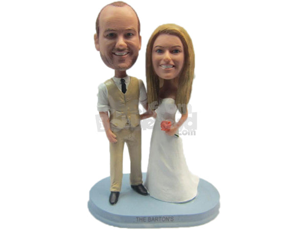 Custom Bobblehead Gorgeous Wedding Couple Ready For Their After Marriage Photo Shoot - Wedding & Couples Bride & Groom Personalized Bobblehead & Cake Topper