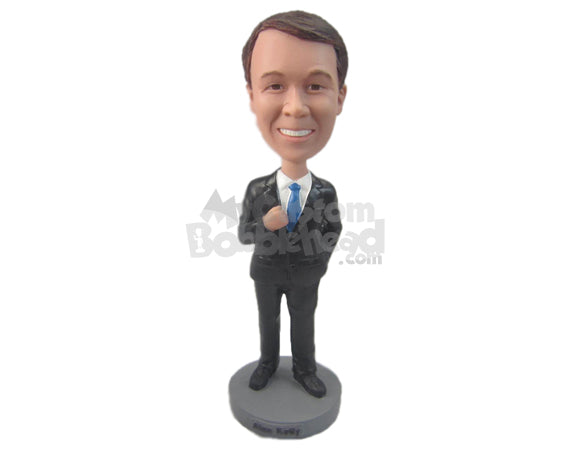 Custom Bobblehead Classy Best Man Wearing Formal Outfit With One Hand In Pocket - Wedding & Couples Bride & Groom Personalized Bobblehead & Cake Topper