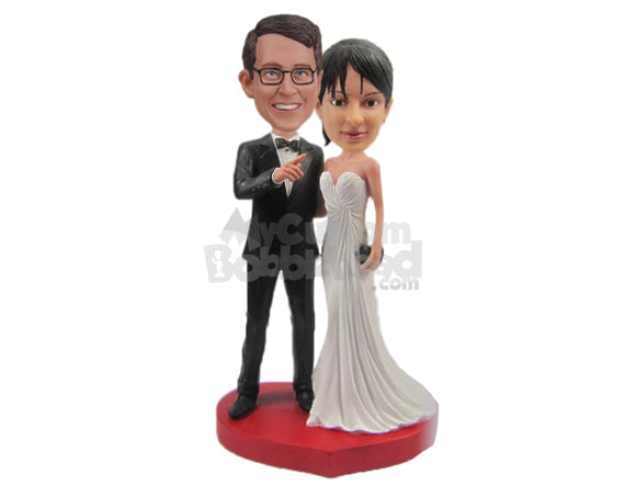Custom Bobblehead Gorgeous Wedding Couple In Wedding Outfit Looking Forward For A Bright Future - Wedding & Couples Bride & Groom Personalized Bobblehead & Cake Topper