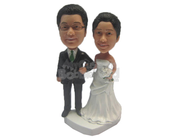 Custom Bobblehead Just Married Couple In Gorgeous Wedding Attire And Holding A Bouquet - Wedding & Couples Bride & Groom Personalized Bobblehead & Cake Topper