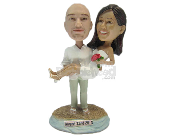 Custom Bobblehead Beach Wedding Happily Ever After Bride And Groom - Wedding & Couples Bride & Groom Personalized Bobblehead & Cake Topper