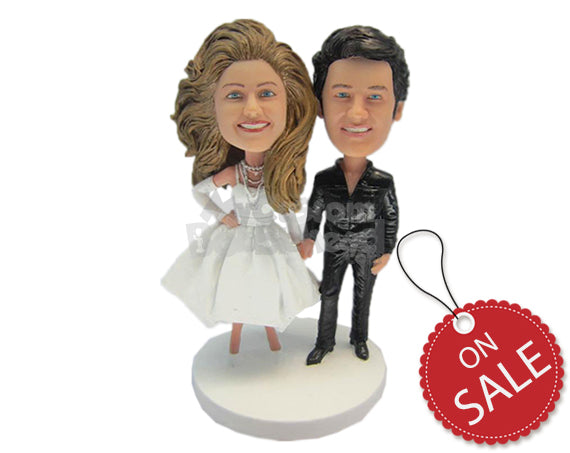 Custom Bobblehead Elvis Presley Groom And Bride Wanna Be Posing For Wedding Pictures - Wedding & Couples Bride & Groom Personalized Bobblehead & Cake Topper