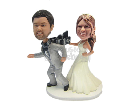 Custom Bobblehead Bride Catching Fleeing Groom By His Scarf - Wedding & Couples Bride & Groom Personalized Bobblehead & Cake Topper