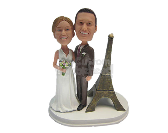 Custom Bobblehead Eiffel Tower French Wedding Couple - Wedding & Couples Bride & Groom Personalized Bobblehead & Cake Topper