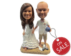 Custom Bobblehead Soccer Loving Wedding Couple At The Beach - Wedding & Couples Bride & Groom Personalized Bobblehead & Cake Topper