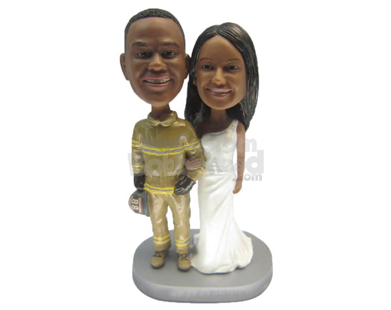 Custom Bobblehead Firefighter Themed Gorgeous Wedding Couple - Wedding & Couples Bride & Groom Personalized Bobblehead & Cake Topper