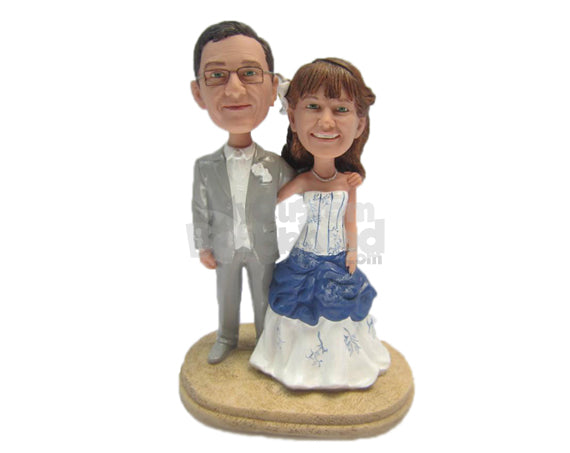 Custom Bobblehead Classy Wedding Couple Wearing A Formal Attire - Wedding & Couples Couple Personalized Bobblehead & Cake Topper