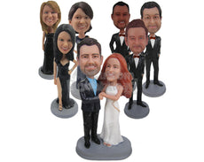 Custom Bobblehead Wedding Destination James Bond Couple Holding Guns - Wedding & Couples Bride & Groom Personalized Bobblehead & Cake Topper