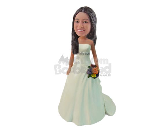 Custom Bobblehead Gorgeous Bride In Eye-Catching Gown With A Bouquet In Hand - Wedding & Couples Brides Personalized Bobblehead & Cake Topper