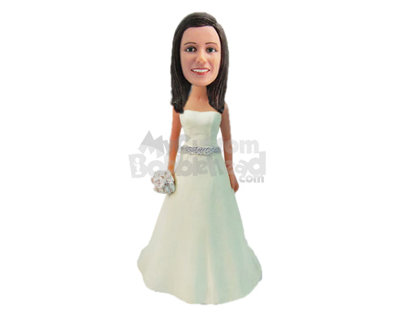 Custom Bobblehead Bride Wearing A Stylish Gown Holding A Fresh Flower Bouquet - Wedding & Couples Brides Personalized Bobblehead & Cake Topper