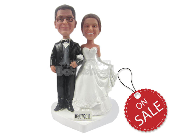 Custom Bobblehead Lovely Wedding Couple Standing Hand In Hand In Beautiful Wedding Attire - Wedding & Couples Bride & Groom Personalized Bobblehead & Cake Topper