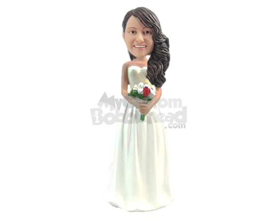 Custom Bobblehead Lovely Bride Wearing Strapless Gown With A Bouquet In Hand - Wedding & Couples Brides Personalized Bobblehead & Cake Topper