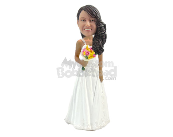 Custom Bobblehead Bride Wearing Trendy Gown Holding A Flower Bouquet - Wedding & Couples Brides Personalized Bobblehead & Cake Topper