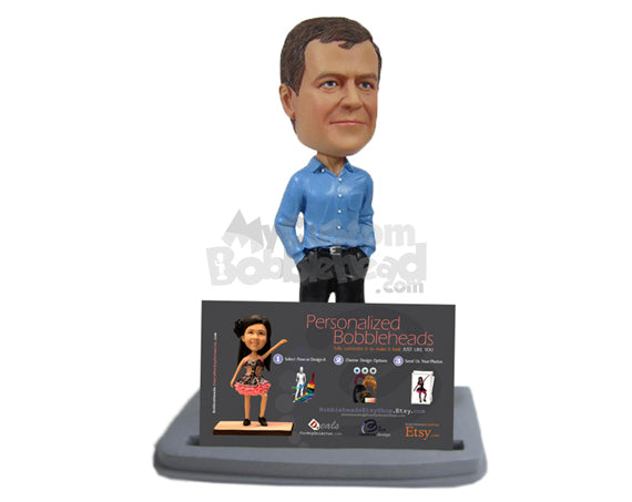 Custom Bobblehead Elegant Handsome Corporate Executive Displaying Business Card - Wedding & Couples Groomsman & Best Men Personalized Bobblehead & Cake Topper