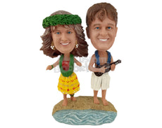 Custom Bobblehead Hawaiian Couple Dancing The Night Out - Wedding & Couples Couple Personalized Bobblehead & Cake Topper