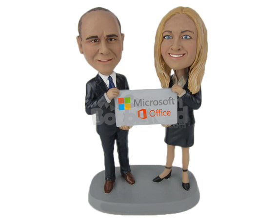 Custom Bobblehead Corporate Executives Holding A Promotional Sign - Wedding & Couples Couple Personalized Bobblehead & Cake Topper